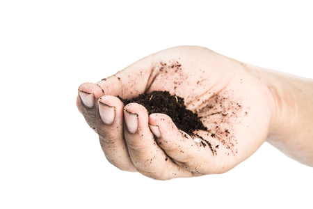 csr: soil in hands , Hands dirty with clay