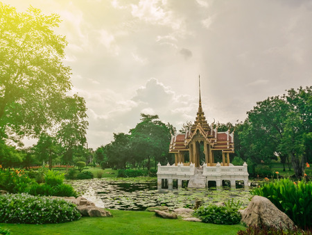 Pavilion In Suan Luang Rama 9 Of Thailand, sunlight effect filter Stock Photo