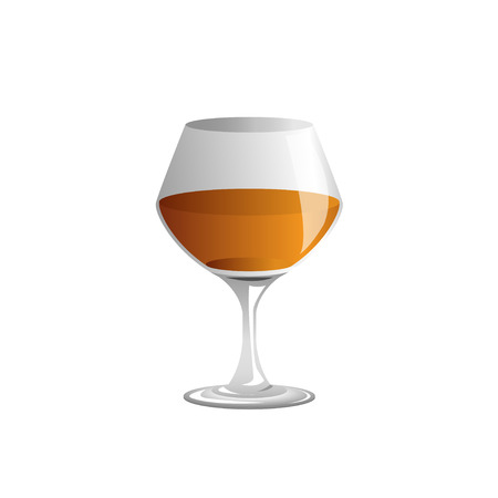 sniffer: brandy glass and brandy, Vector Illustration
