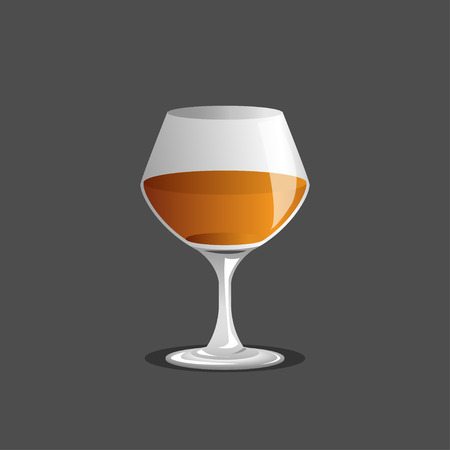 bourbon: brandy glass and brandy, Vector Illustration