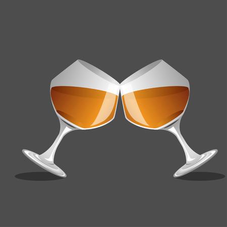 brandy: brandy glass and brandy, Vector Illustration
