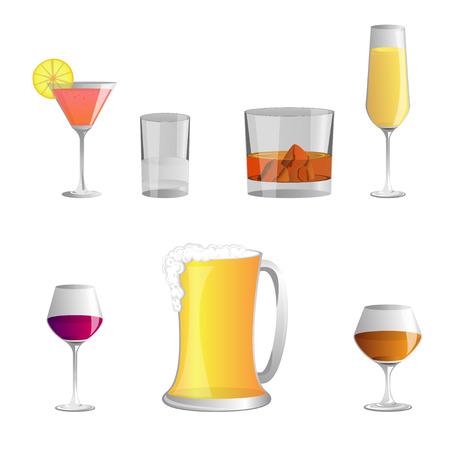 bebidas alcoh�licas: set of Alcoholic beverages , vector icon Vectores