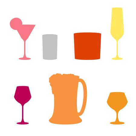 bebidas alcohÓlicas: set de bebidas alcohólicas, icono del vector Vectores