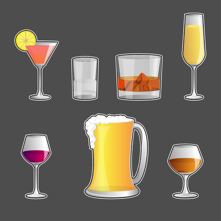 alcoholic beverages: set of Alcoholic beverages , vector icon Vectores