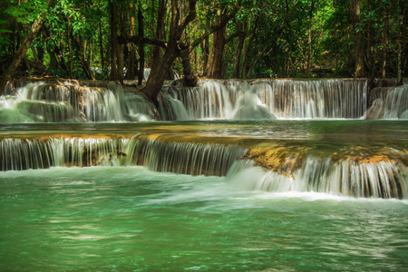 Huay Mae Khamin, Paradise Waterfall located in deep forest of Thailand.