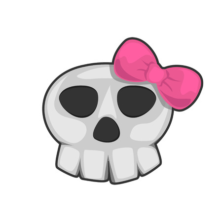 skull whith hair bow cartoon vector on white background Vektorové ilustrace