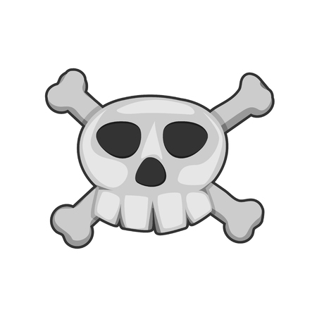 terrify: pirate skull, cartoon vector on white background