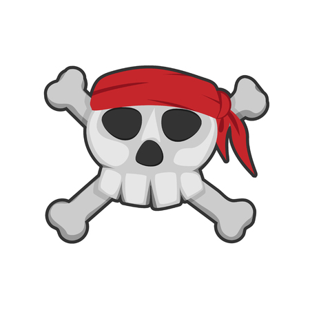 pirate skull, red bandana and bones Illustration