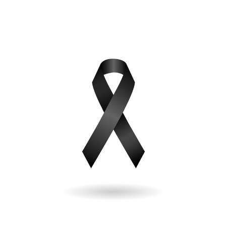 Black ribbon mourning sign. vector Illustration