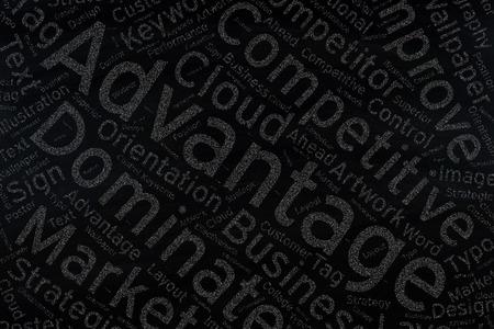 advantage: advantage,Word cloud art  on blackboard