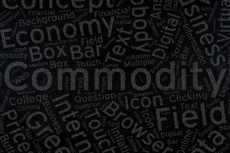 commodity: commodity ,Word cloud art on blackboard Stock Photo