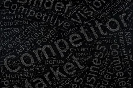 competitor: competitor ,Word cloud art on blackboard