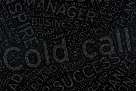 unsolicited: cold call ,Word cloud art on blackboard Stock Photo
