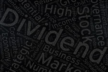 dividend: dividend  ,Word cloud art on blackboard