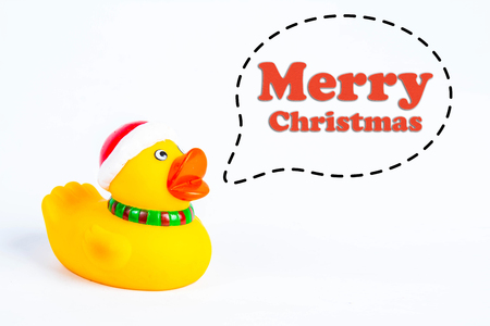 bath duck with callout symbol and message  merry christmas  on white background