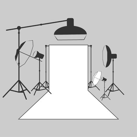 vector photographer studio lighting equipment icon Illustration