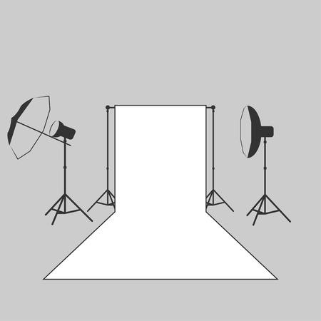 studio lighting: vector photographer studio lighting equipment icon Illustration
