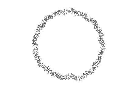 flower ornament: vector round frame with branch of ivy