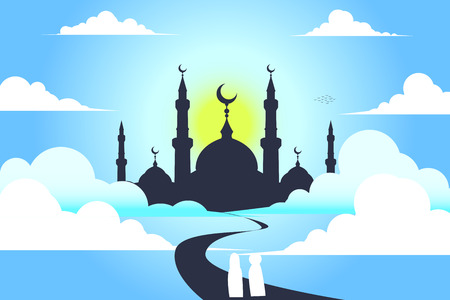 mosque with sky , vector  background Illustration