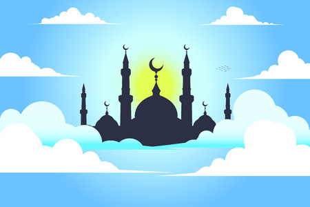 minaret: mosque with sky , vector  background Illustration