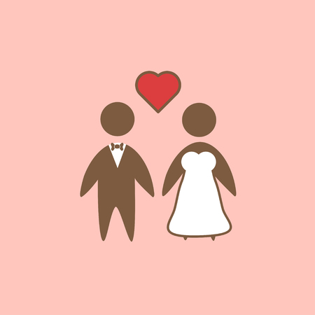 wedding love: Bride and groom as love wedding couple vector icon isolated