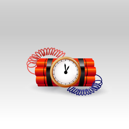 Bomb with clock timer  vector Illustration