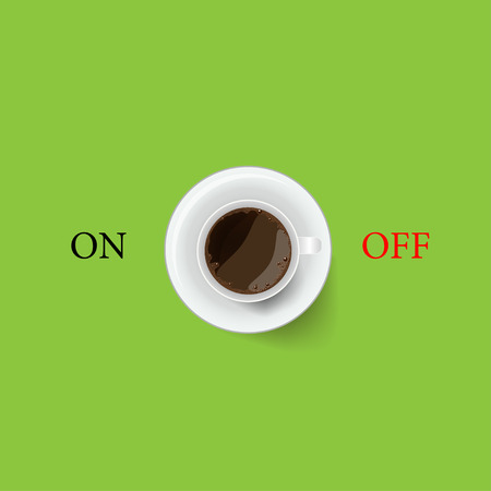 Coffee cup with on , off symbol Illustration
