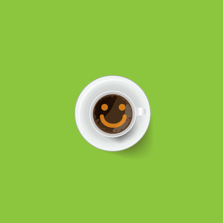 froth: Coffee cup  with froth in the form of smiley face