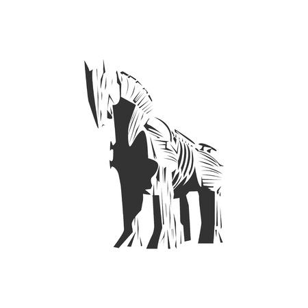 cavallo di troia: Trojan horse vector ,  wood horse