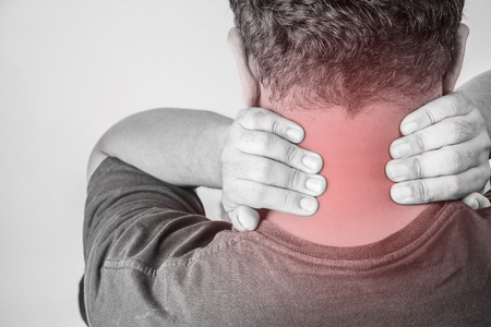 nape: nape injury in humans .nape pain,joint pains people medical, mono tone highlight at nape