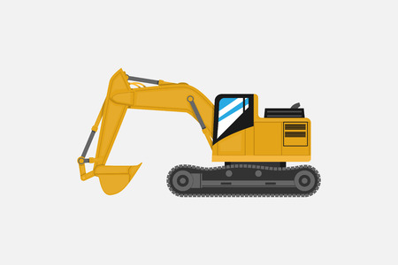 Excavator car in yellow illustration.