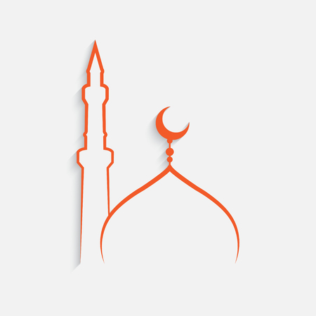 Mosque Islamic template on white background, vector
