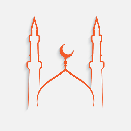 mosque Islamic template on white background , vector Illustration