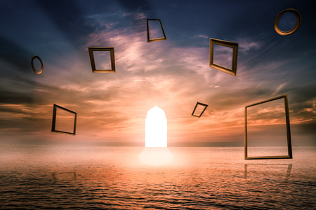 Gate of life  ,Illuminated door Symbol of good deed ,Imaginative concept. Use Islamic arches with sea ??View
