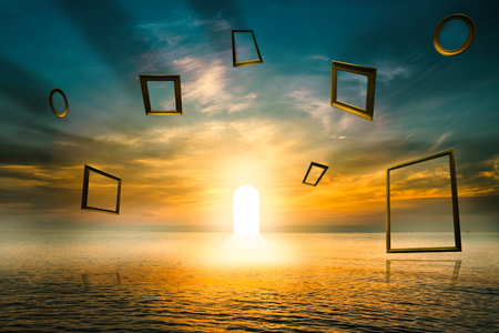 Gate of life ,Illuminated door Symbol of good deed ,Imaginative concept. Use Islamic arches with sea View Stock Photo