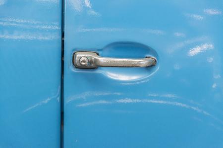 rusty car: Car door handle, vintage car .