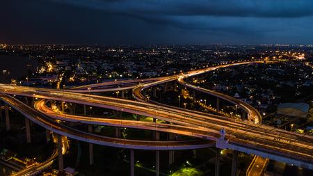 Rama 9 Bridge in Thailand. The landmark. The symbol is the symbol of the king of Thailand. Bird eye view .