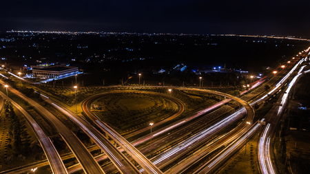 nv: over Road city highway at night - Bird eye viwe - drone -Top view Stock Photo