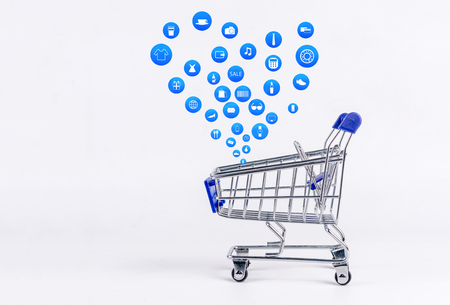 Shopping cart with Shopping icon on white background , Koncept shopping online Stock Photo