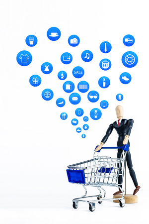 Shopping cart with Shopping icon on white background , Koncept shopping online Foto de archivo