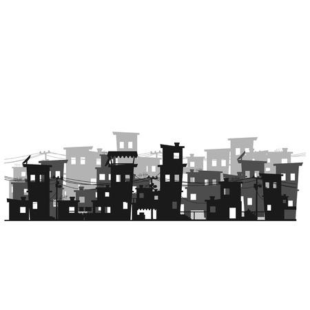 도시의 가난한 동네의 거리. 빈민굴 스톡 콘텐츠