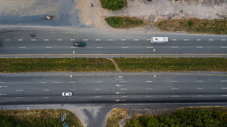 Aerial view of the road . Stock Photo