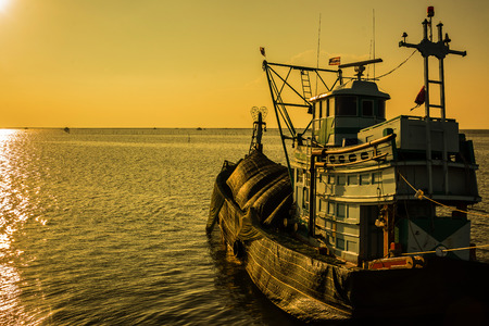 fishing boat in twilight time  ,  Thailand Stock Photo