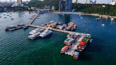 Aerial view of  Tour port in Pattaya , Thailand .
