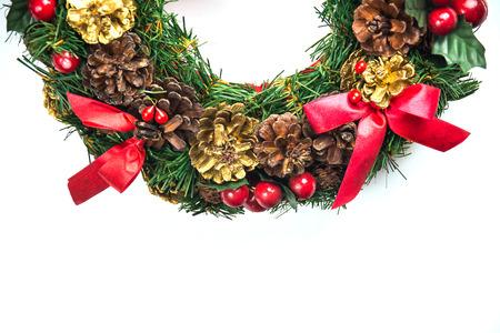 christmas wreath on white background .