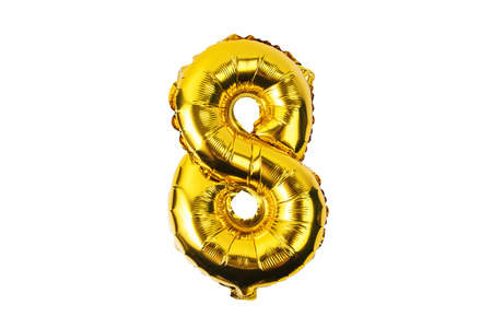 numerals    from yellow (Golden) balloons on a white background