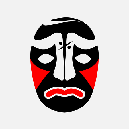 Beijing mask of ancient people icon. Ilustrace