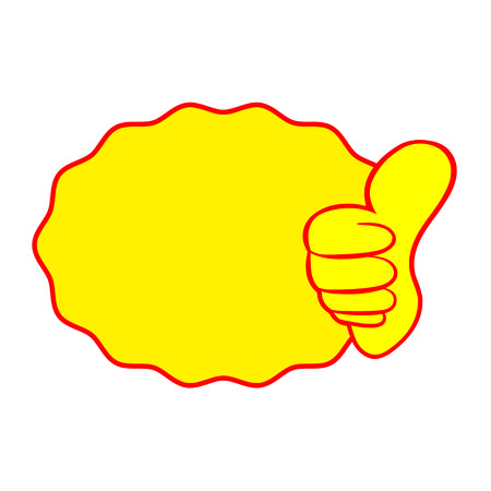 Thumb up vector with label icon on white background.