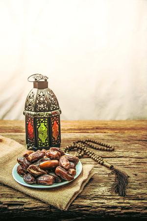 date palm fruit or kurma , ramadan food , image Vintage style .