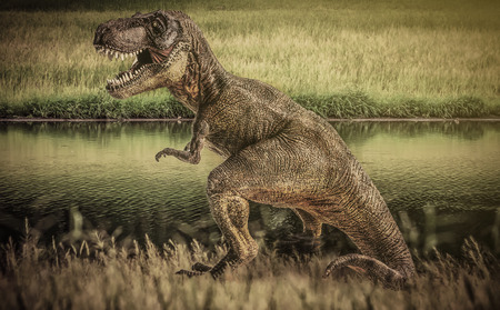 dinosaur , T-rex   with tree  .